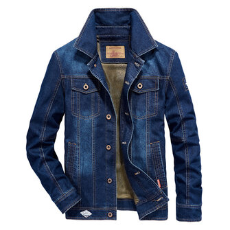 Mens Big Size Denim Embroidery Letter Patchwork Badge Jacket