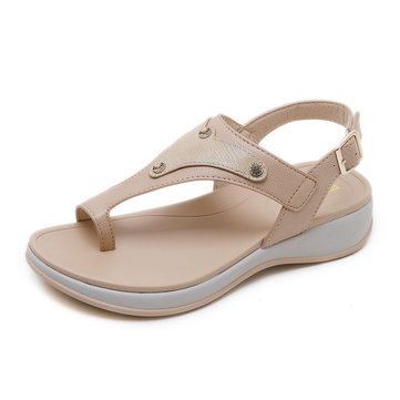 Women Platform Beach Sandals Flats PU Shoes