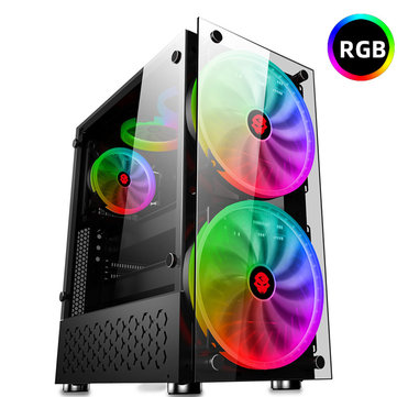 RGB Computer Case Double Side Tempered Glass Panels ATX Gaming Cooling PC Case with Two 20cm fans Support 360mm Graphics Card