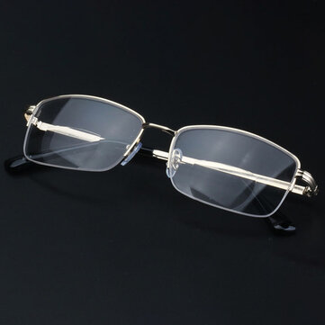 Men Women Metal Lightweight Bifocal Reading Glasses Half-Frame Round Computer Glasses