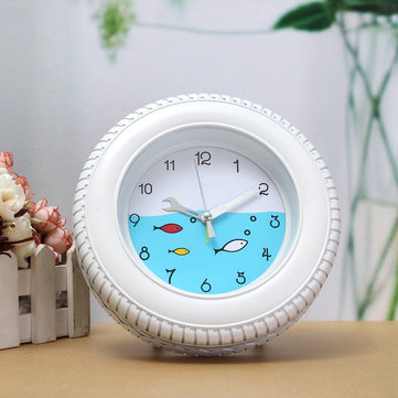 Retro Mediterranean Style Tire Alarm Clock Wall Clock Desktop For Home Decorative