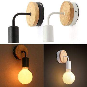 Modern White Black E27 Wall Lighting Fixture Sconce Holder Wood Base Cafe Home Decor