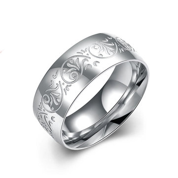 Silver 316 Stainless Steel Carved Simple Men Finger Ring Jewelry