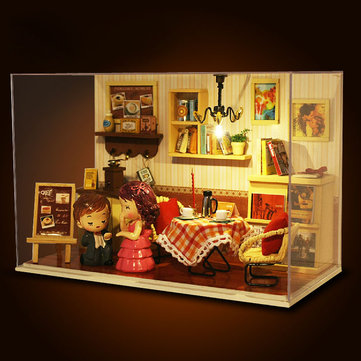 Cuteroom DIY Wooden Dollhouse Dense Feeling Moment Handmade Model with LED Light+Music+Dolls+Cover