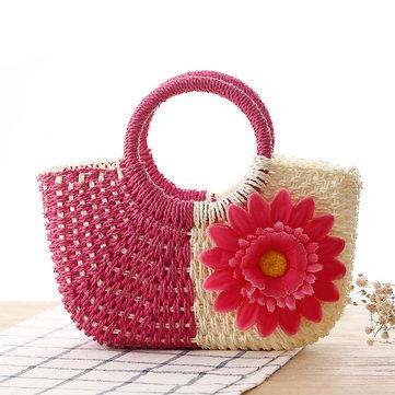 Women Straw Tote Summer Beach Bag Straw Bag Handbag