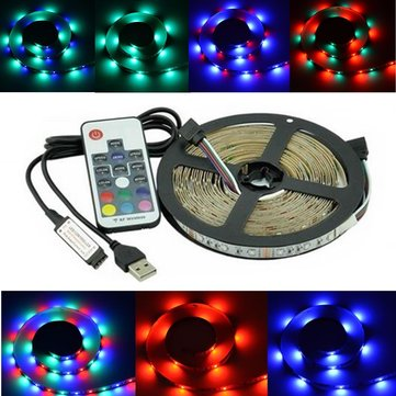 2M 3M 5M USB SMD 2835 RGB TV Background Lighting Kit Strip Light With 17Keys RF Remote DC5V