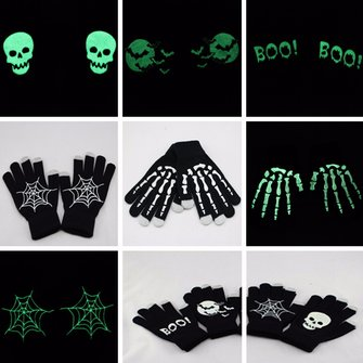 Unisex Fluorescent Touch Screen Gloves For Smartphone Tablet Full Finger Mittens