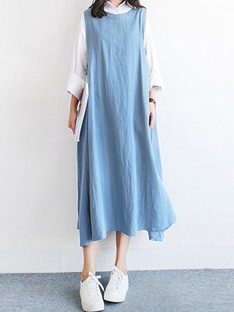Women Vintage Round Neck Casual Loose Midi Tank Dress