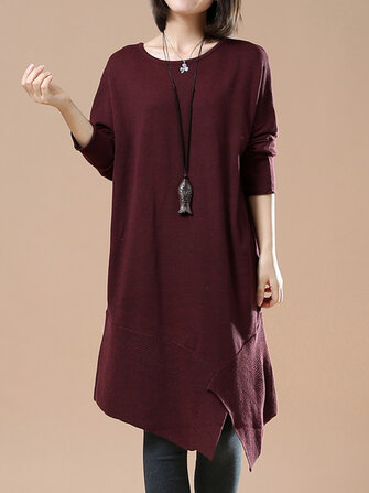 O-NEWE L-5XL Vintage Women Irregular Hem Dress