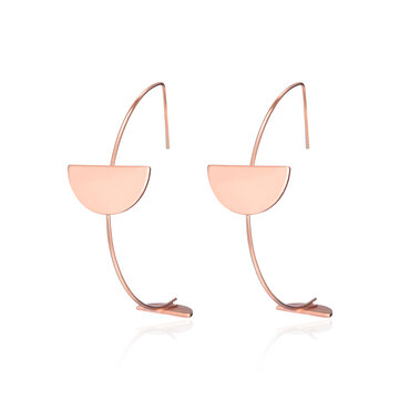 Fashion Simple Style Rose Gold Plated Arc Line Semicircle Charm Earrings Jewelry for Women