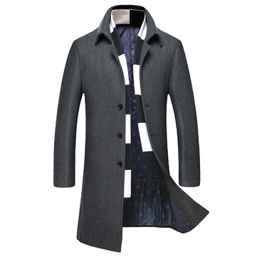 Men's Stand Collar Woolen Overcoats Long Slim Warm Windproof Trench Coat British Style Tops