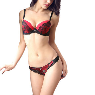 Women Embroidery Deep Plunge Push Up Bra Set With Hot Thongs