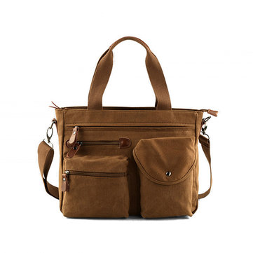 Men Retro Canvas Business Handbag Solid Crossbody Bag