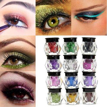 12 สีอายแชโดว์เนื้อผงประกายแวววาว Glitter Pigment Makeup