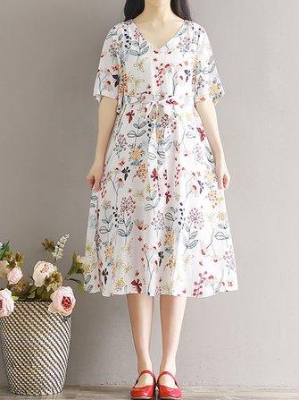 Mori Girl Women V-Neck Floral imprimé moitié manches Cravate taille robe