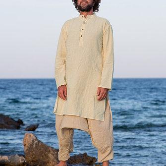 INCERUN Mens Vintage Long Sleeve Tops Kaftan Half-open Side Split Shirts