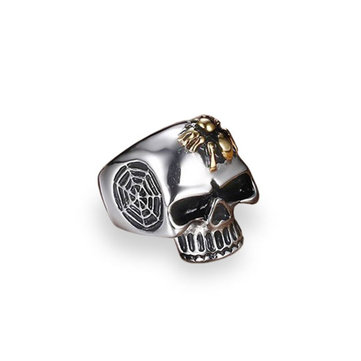 Vintage Stainless Steel Men Ring Cool Skull Spider Web Jewelry for Men