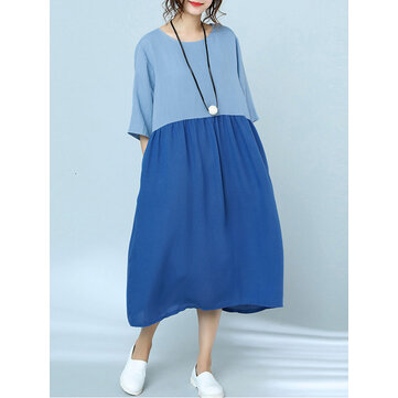 Women Casual Two-tone Patchwork Loose Dress