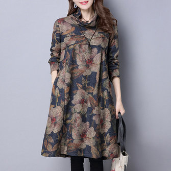 Vintage Women Floral Printed Loose High Collar Long Sleeve Dresses