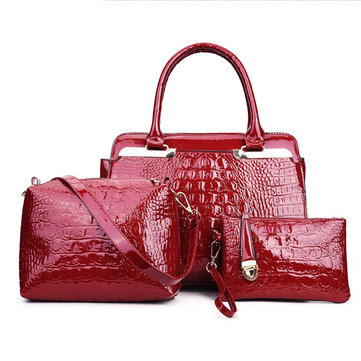 Elegant Crocodile Handbag 3 PCS Evening Bag Date Bag Shoulder Bag Crossbody Bag