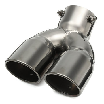 76mm 3 Inch Universal Car Stainless Twin Double Chrome Exhaust Pipe Muffler Tail Tip