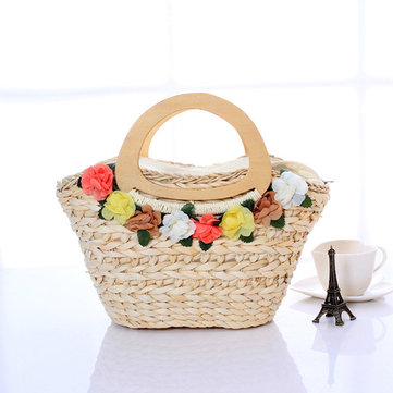 Women New Flower Mori Girl Beach Style Woven Straw Bag