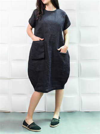 Plus Size Solid Color Short Sleeve Baggy Cotton Dress