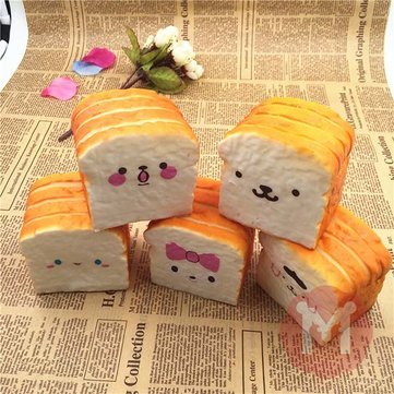 Squishy 10cm Soft Kawaii Emoji Toast Cute Face Bread Desk Decor
