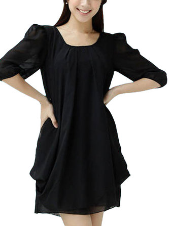 Ruffles Elegant Solid Color Chiffon A-Line Mini Dress For Women