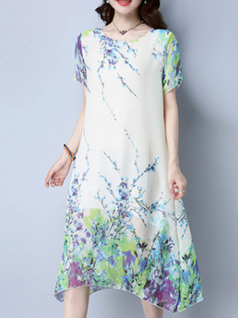 Women Elegant Floral Printed Short Sleeve Dresses O-Neck Midi Dress