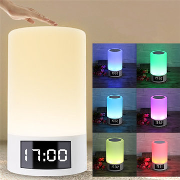 M6 LED Light Wireless Bluetooth Speaker 4000mAh Colorful Bedroom Table Touch Lamp Clock Speaker