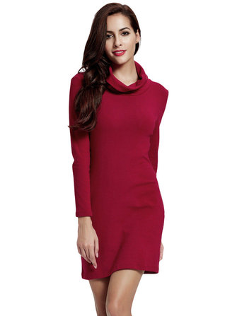 Women Pile Collar Long Sleeve Knitted Slim Package Hip Dress