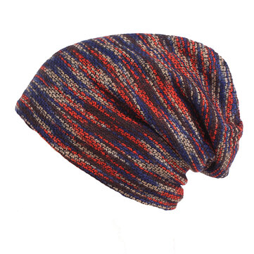 Men Stripe Knit Warm Beanies Hat Solid Plus Velvet Lining Winter Bonnet Skullies Hats