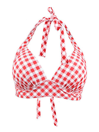 Plaid Stitching Sexy Bikini Padding Plunge Beach Swimwear