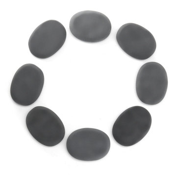 8 Pcs Natural Black Basalt Hot Stone Set Massage Treatments