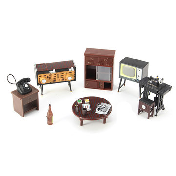Miniature Dollhouse Furniture Set Sewing Machine Telephone For Families Role Play Toy Kit
