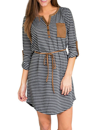 Plus Size Stripe Belt V-Neck Long Sleeve Dress