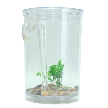 Ecological Cylindrical Miniature Plastic White Fish Tank Desktop Decor Fishing Kits