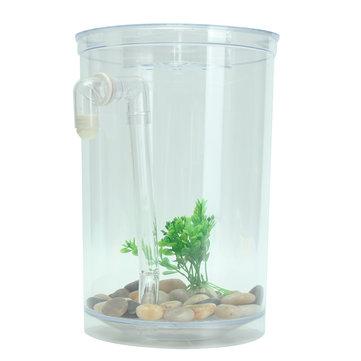 Ecological Cylindrical Miniature Plastic White Fish Tank Desktop Decor Fishing Kits