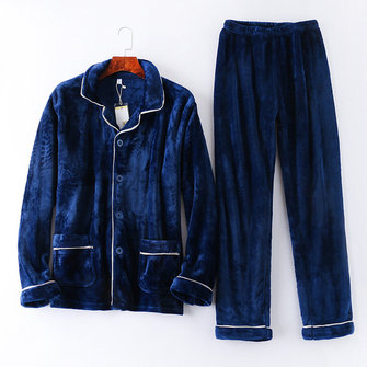 Mens Autumn Winter Flannel Warm Pocket Sleepwear Suits Pajamas Set