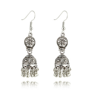 Ethnic Hollow Carved Bells Alloy Earrings Jewelry for Women