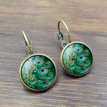 Vintage Peacock Feathers Pattern Earrings Bronze Gem Cabochon Dangle Earring