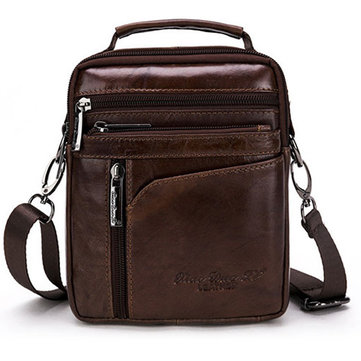Men Genuine Leather Vintage Brown Sling Bag Multifunction Shoulder Bag Handbag for Leisure