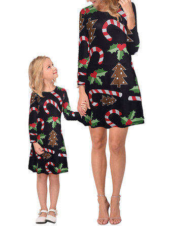 Lucky Star Ice Snowball Christmas Print Parent-child Dress