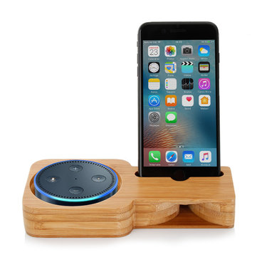 2 in 1 Bamboo Wood Phone Stand Charging Speaker Holder Bracket for Amazon Echo Plus Echo Dot Speaker