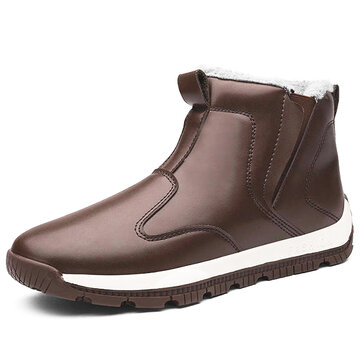 Men Comfy Genuine Leather Slip Resistance Warm Fur Lining Snow Boots