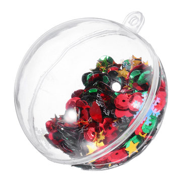 6PCS Christmas Party Home Decoration 5CM Sequin Transparent Ball Bauble Ornament Kids Children Gift