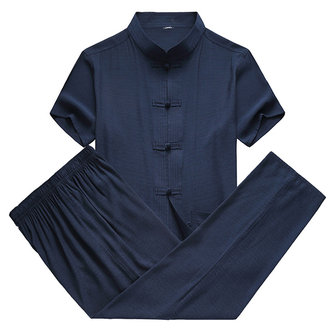 Mens Frog Button Chinese Style Stand Color Summer Shirts Set
