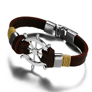 Vintage Men's Genuine Leather Bracelet Helm Charm Bangle