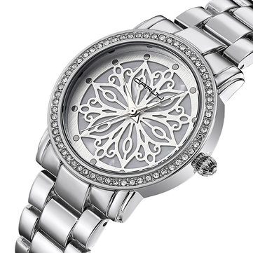 CRRJU 2109 Diamonds Dial Case Women Wrist Watch Stainless Steel Quartz Watches